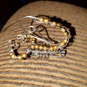 Golden color beaded scorpion brooch stainless wire